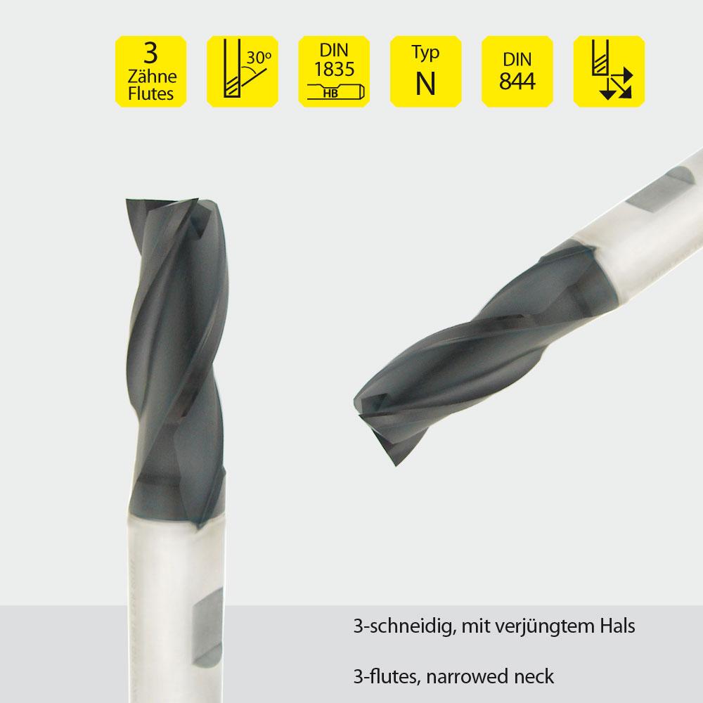 Hardal-HSS-Fräser z=3 Ø 16mm
