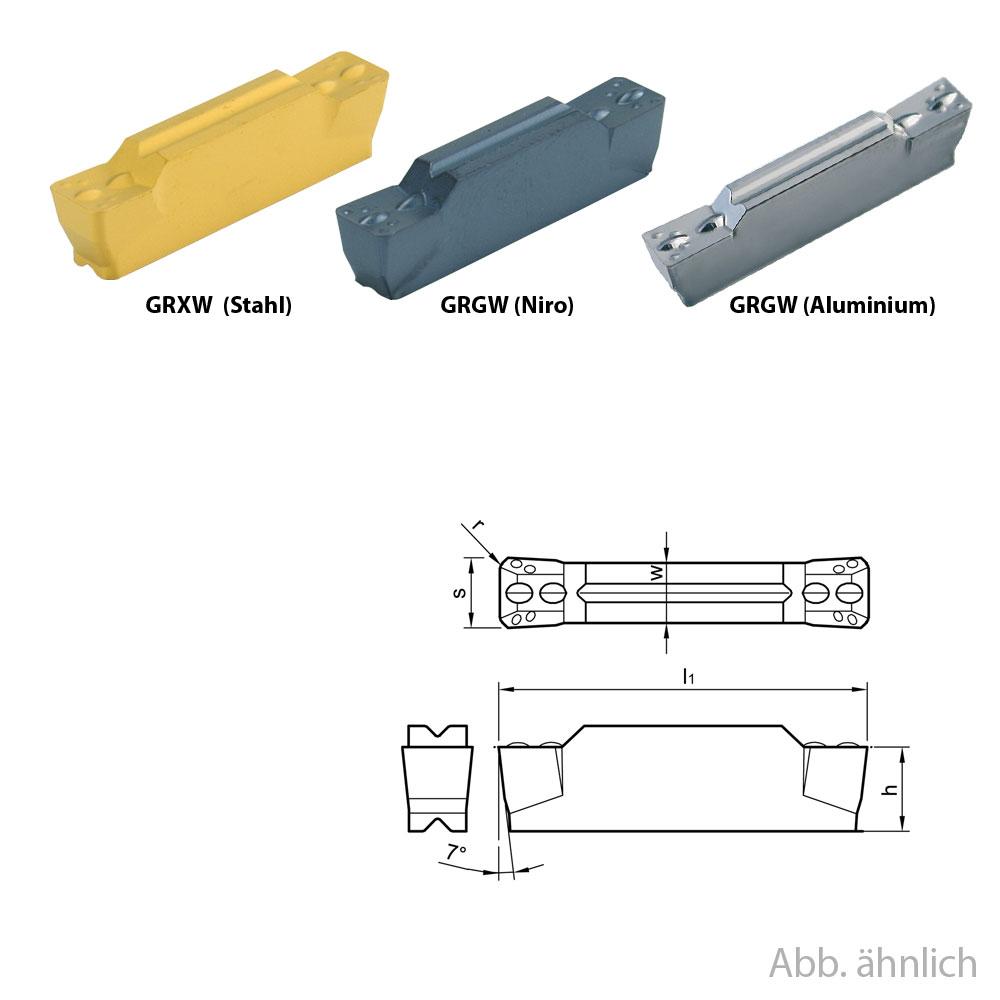 10 Wendeplatten zum Stechdrehen System GRX (Aluminium, Niro, Stahl)