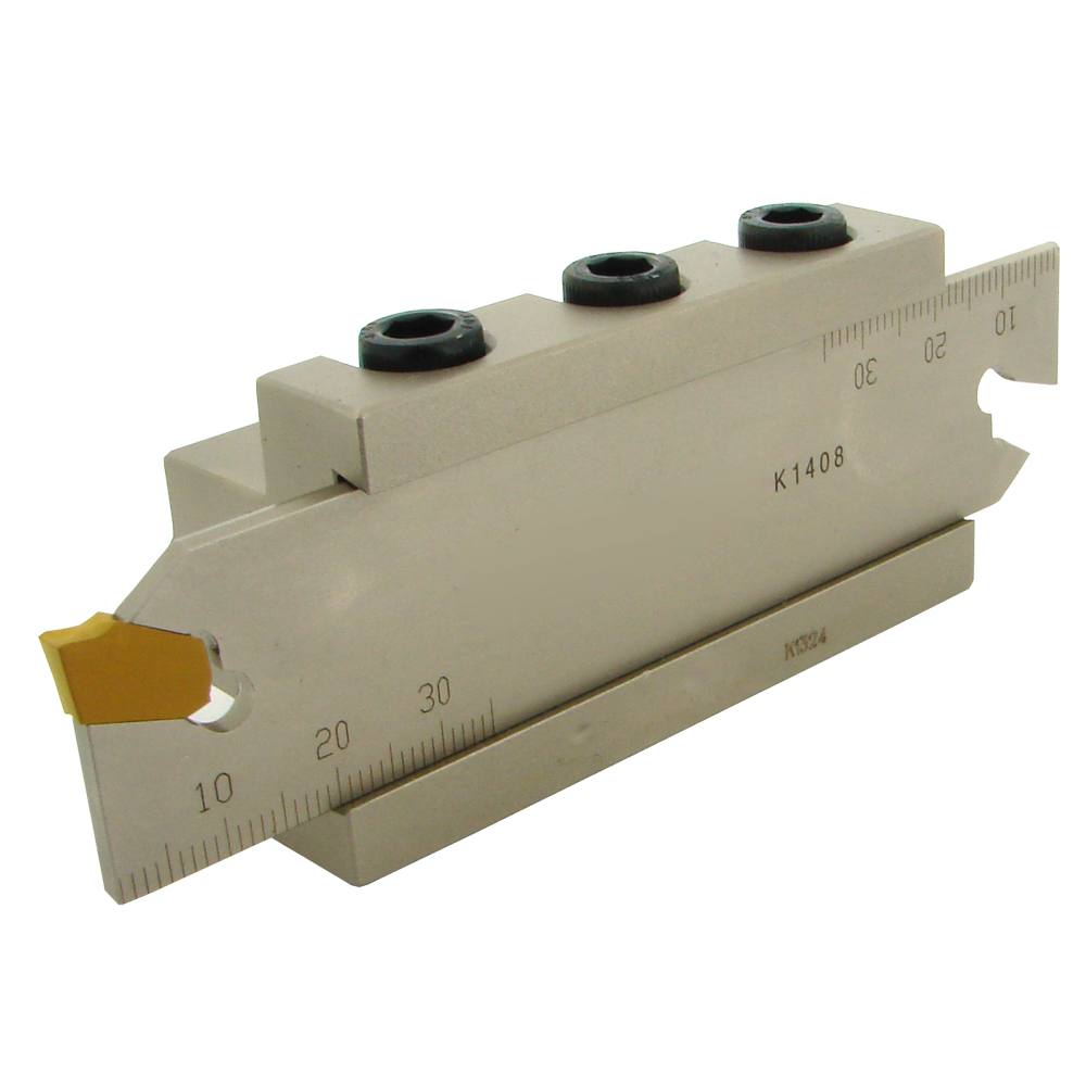 Abstechen - Abstechset: Abstecheinsätze (2mm o. 3mm), Stechwert + Spannblock