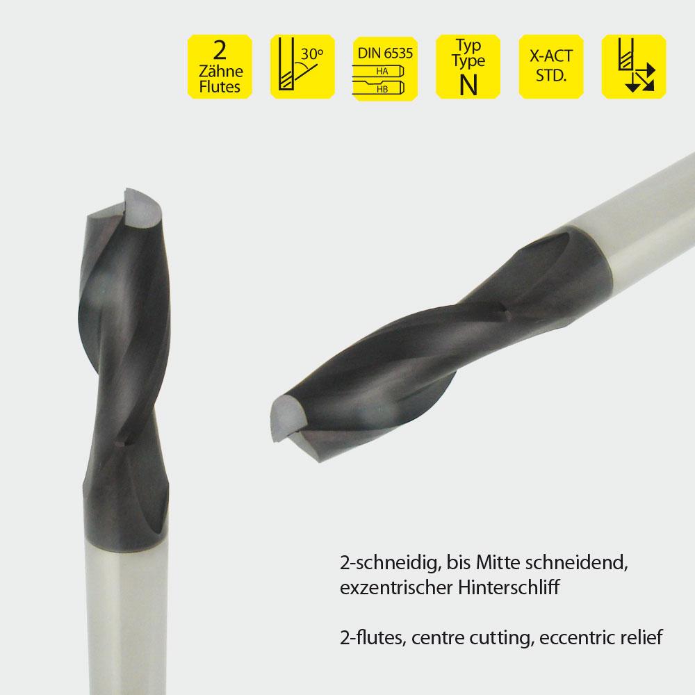 Vollhartmetall-Schaftfräser, z=2, Ø2 mm