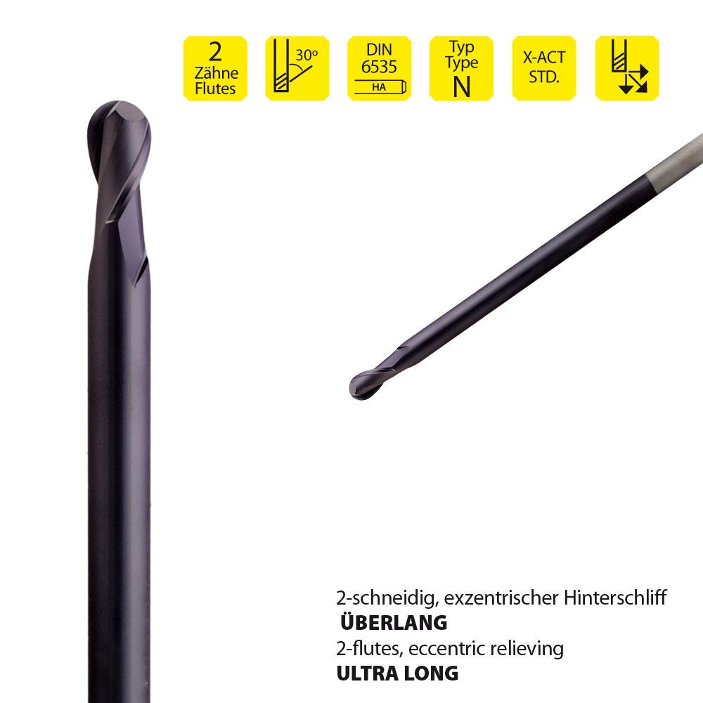 Vollhartmetall-Radienfräser, z=2, überlange Ausführung, Ø3 mm