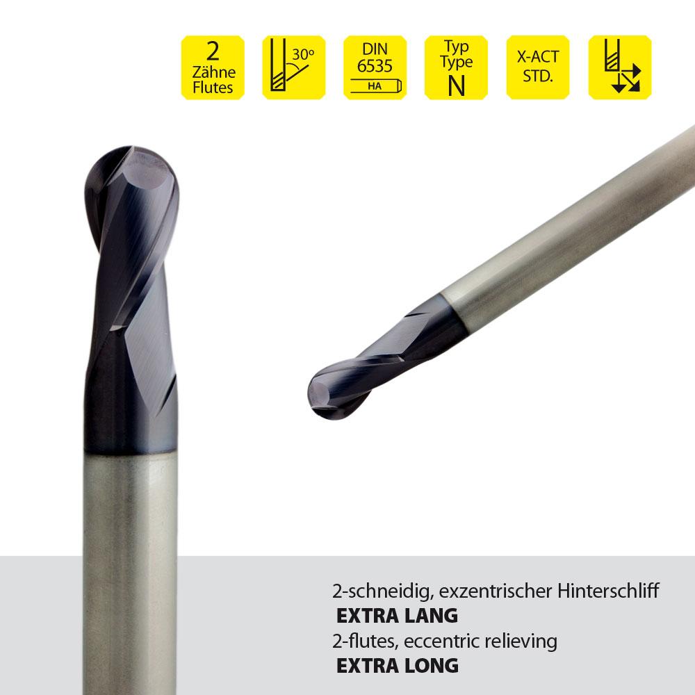 Vollhartmetall-Radienfräser, z=2, extralange Ausführung Ø12 mm